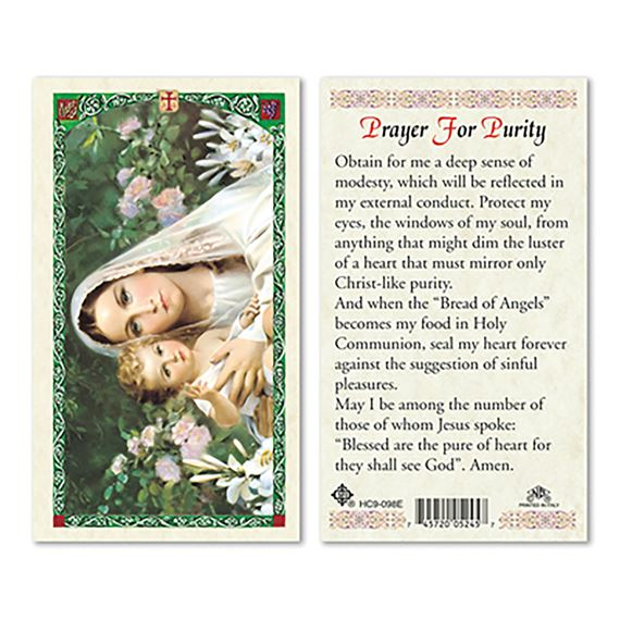 LAMINATED HOLY CARD - PRAYER FOR PURITY