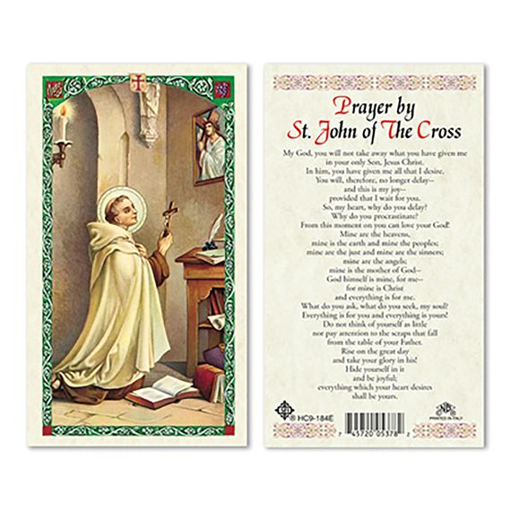 LAMINATED HOLY CARD - ST. JOHN OF THE CROSS