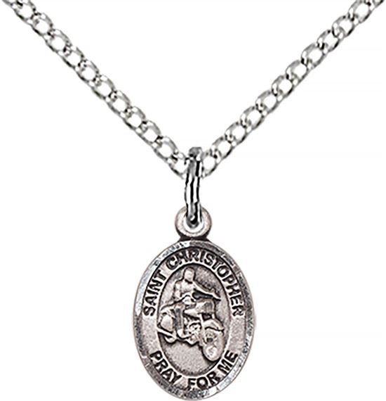 "STERLING SILVER ST CHRISTOPHER-MOTORCYCLE PENDANT WITH CHAIN - 1/2"" x 1/4"""
