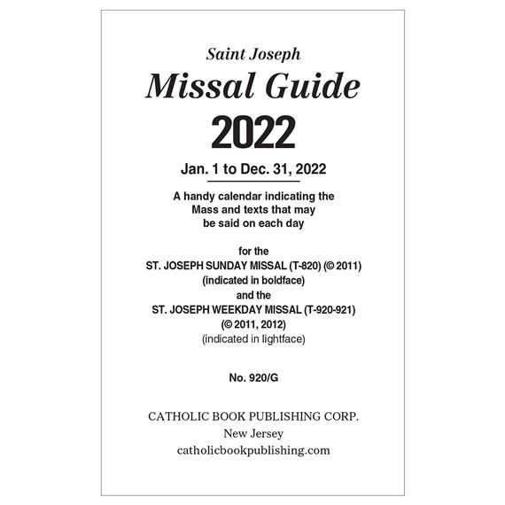 GUIDE FOR SUNDAY & WEEKDAY MISSAL - 2020