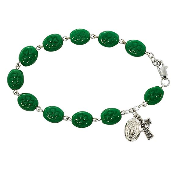 IRISH ROSARY BRACELET WITH SHAMROCK BEADS