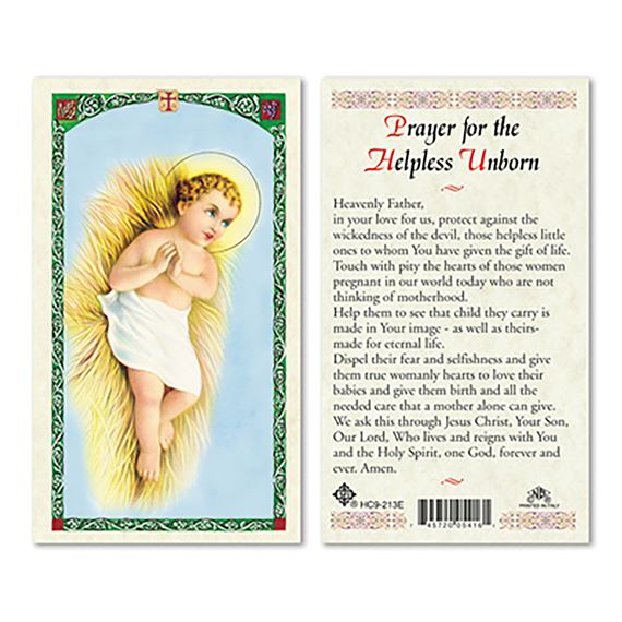 LAMINATED HOLY CARD - PRAYER FOR THE UNBORN