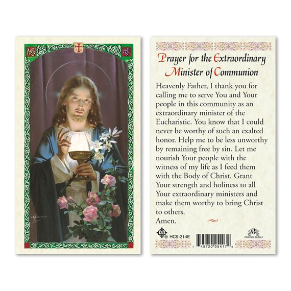 LAMINATED HOLY CARD-EXTRAORDINARY MINISTER PRAYER