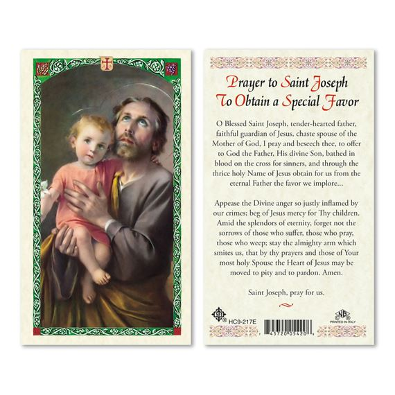 LAMINATED HOLY CARD - ST. JOSEPH FOR SPECIAL FAVOR
