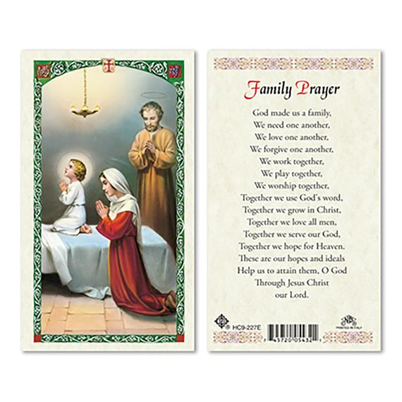 LAMINATED HOLY CARD - FAMILY PRAYER (BEDTIME)