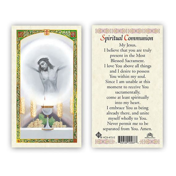 LAMINATED HOLY CARD SPIRITUAL COMMUNION