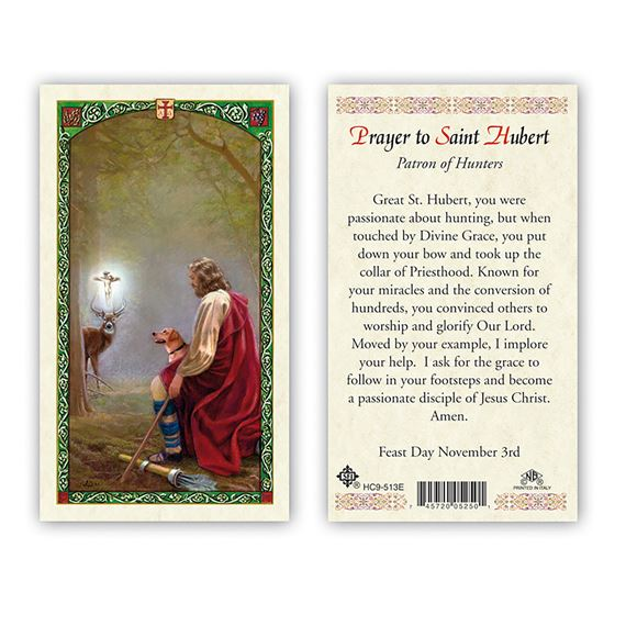 LAMINATED HOLY CARD - SAINT HUBERT