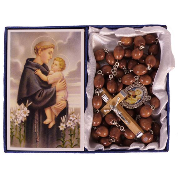 ST. ANTHONY -  BROWN WOOD BEAD ROSARY