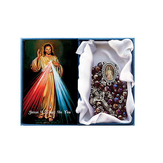 DIVINE MERCY -  RED (AB) GLASS BEAD ROSARY