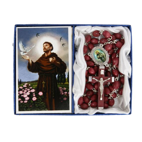 ST. FRANCIS -  BROWN WOOD BEAD ROSARY