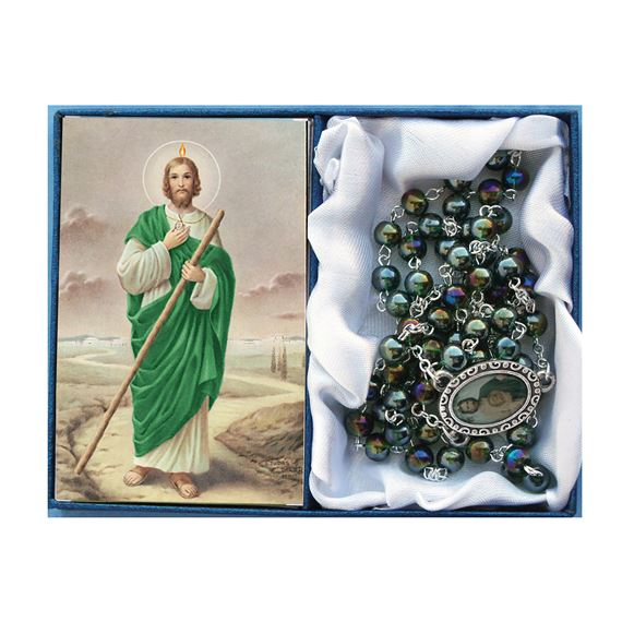 ST. JUDE -  GREEN GLASS BEAD ROSARY