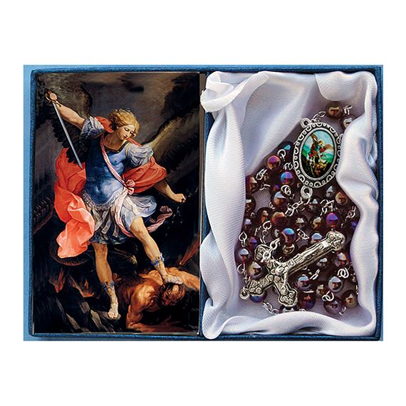 ST. MICHAEL -  RED GLASS BEAD ROSARY