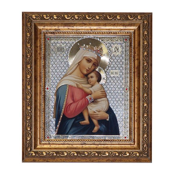 VIRGIN OF HOPE FRAMED WITH CRYSTAL ACCENTS