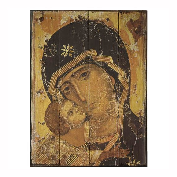 OUR LADY OF VLADIMIR RUSTIC WOOD PLAQUE (LARGE)