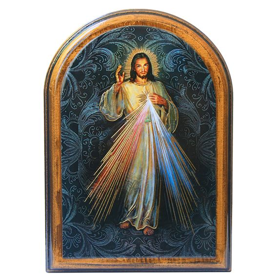 DIVINE MERCY ARCHED PLAQUE - SMALL
