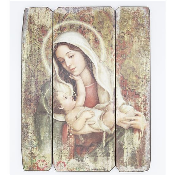 MADONNA AND CHILD PANEL PLAQUE