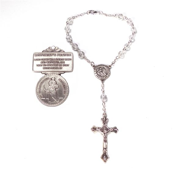 ST. CHRISTOPHER VISOR CLIP AND AUTO ROSARY