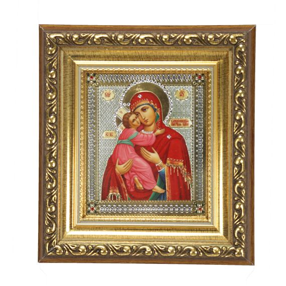 VIRGIN OF VLADIMIR - GOLD FRAME WITH CRYSTALS