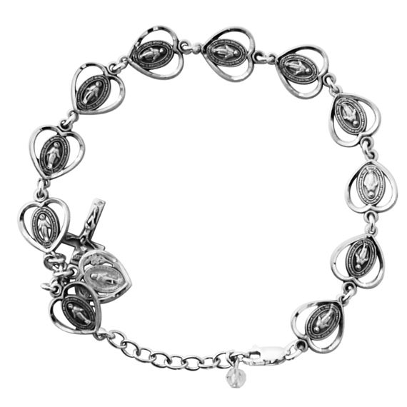 HEART SHAPED MIRACULOUS MEDAL BRACELET