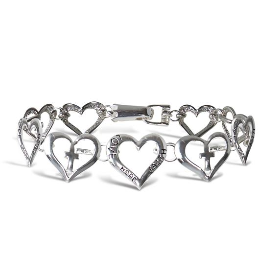 FAITH, HOPE AND LOVE SILVER HEART BRACELET