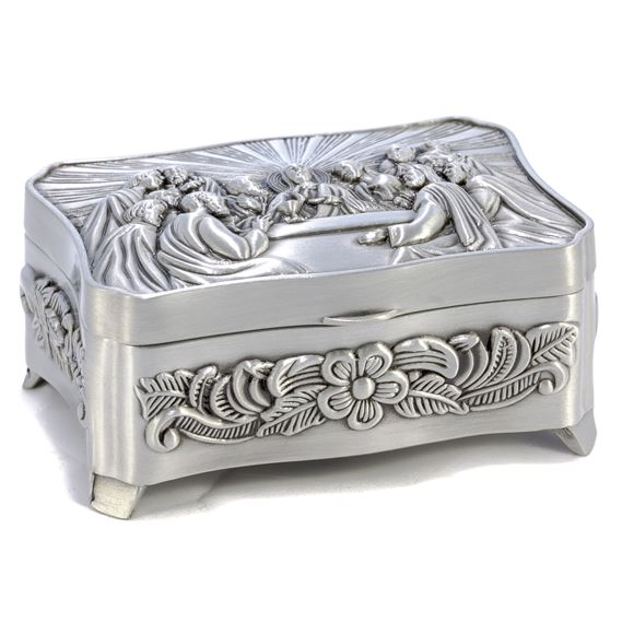 LAST SUPPER PEWTER ROSARY BOX