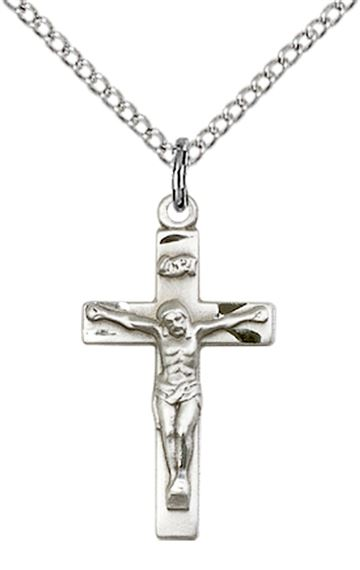 "STERLING SILVER CRUCIFIX PENDANT WITH CHAIN - 7/8"" x 3/8"""
