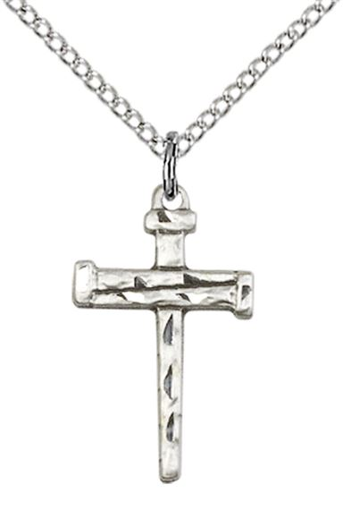 "STERLING SILVER NAIL CROSS PENDANT WITH CHAIN - 3/4"" x 3/8"""