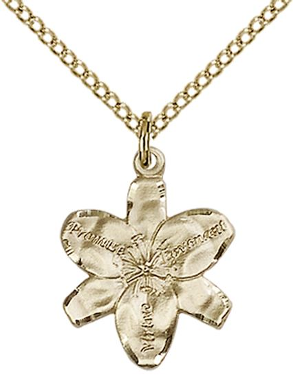 "14KT GOLD FILLED CHASTITY PENDANT WITH CHAIN - 5/8"" x 1/2"""