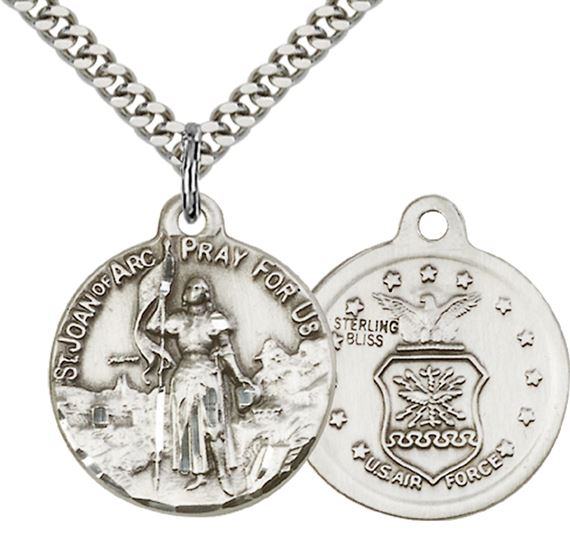 "STERLING SILVER ST JOAN OF ARC PENDANT ON A CHAIN - 7/8"" x 3/4"""
