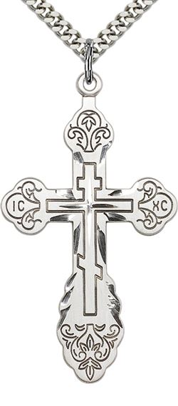 "STERLING SILVER VLADIMIR CROSS PENDANT WITH CHAIN - 1 7/8"" x 1"""