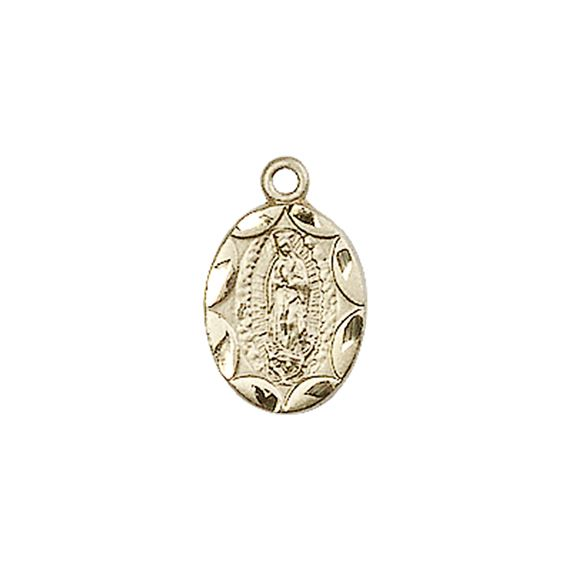 "14KT GOLD OUR LADY OF GUADALUPE MEDAL - 1/2"" x 1/4"""