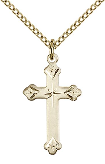"14KT GOLD FILLED CROSS PENDANT WITH CHAIN - 3/4"" x 1/2"""