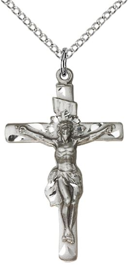 "STERLING SILVER CRUCIFIX PENDANT WITH CHAIN - 1 1/4"" x 3/4"""
