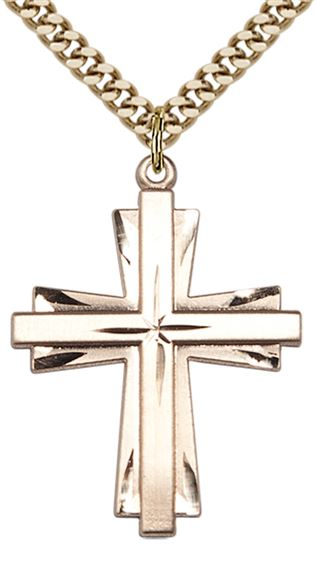 14KT GOLD FILLED CROSS PENDANT WITH CHAIN