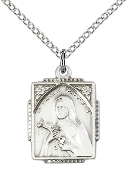 STERLING SILVER ST THERESE PENDANT WITH CHAIN