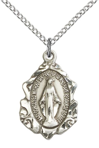 "STERLING SILVER MIRACULOUS PENDANT WITH CHAIN - 3/4"" x 1/2"""