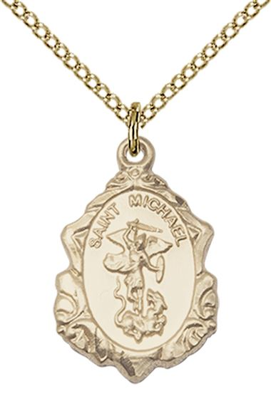 14KT GOLD FILLED ST MICHAEL THE ARCHANGEL PENDANT WITH CHAIN