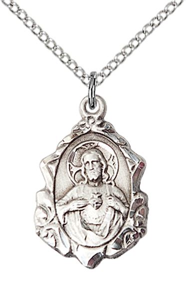 "STERLING SILVER SCAPULAR PENDANT WITH CHAIN - 3/4"" x 1/2"""