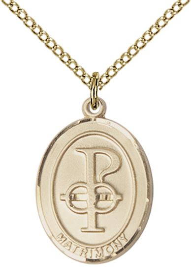 "14KT GOLD FILLED MATRIMONY PENDANT WITH CHAIN - 3/4"" x 1/2"""