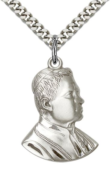 "STERLING SILVER ST PIUS X PENDANT WITH CHAIN - 1"" x 3/4"""