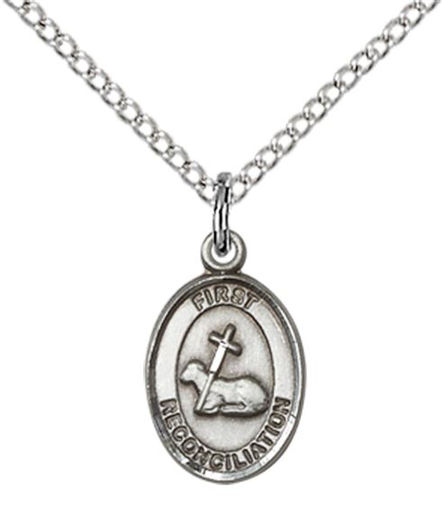 "STERLING SILVER FIRST RECONCILIATION PENDANT WITH CHAIN - 1/2"" x 1/4"""