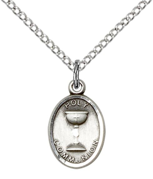 "STERLING SILVER HOLY COMMUNION PENDANT WITH CHAIN - 1/2"" x 3/8"""