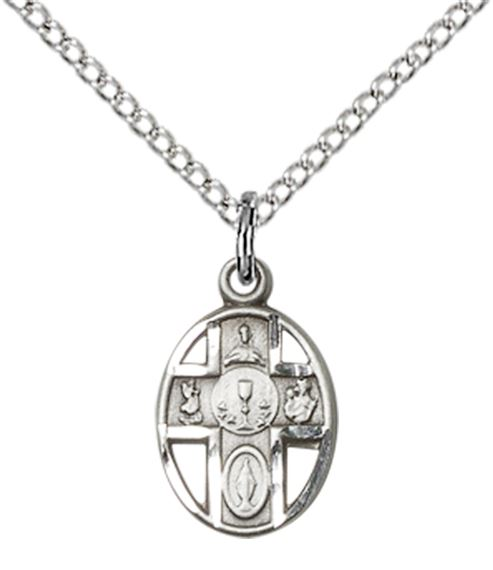 "STERLING SILVER 5-WAY - CHALICE PENDANT WITH CHAIN - 1/2"" x 1/4"""