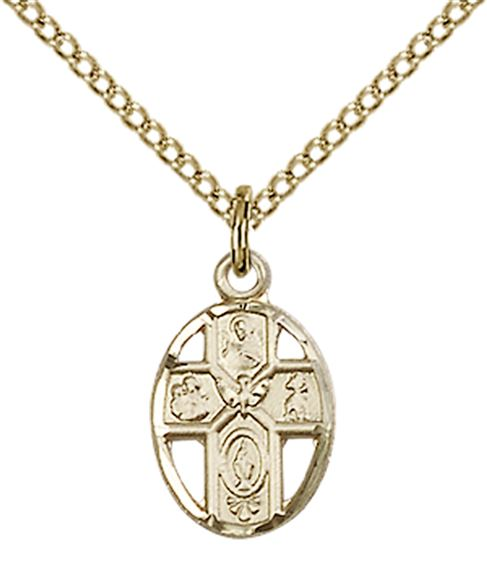 "14KT GOLD FILLED 5-WAY PENDANT WITH CHAIN - 1/2"" x 3/8"""