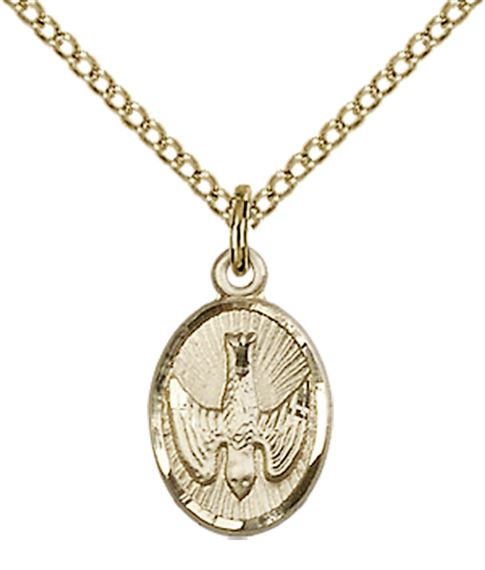 "14KT GOLD FILLED HOLY SPIRIT PENDANT WITH CHAIN - 1/2"" x 3/8"""