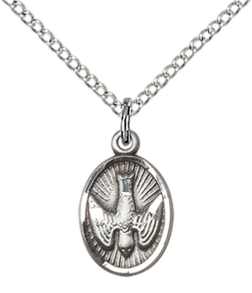 "STERLING SILVER HOLY SPIRIT PENDANT WITH CHAIN - 1/2"" x 3/8"""