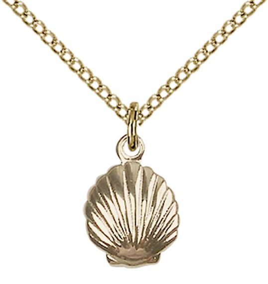"14KT GOLD FILLED SHELL PENDANT WITH CHAIN - 1/2"" x 1/4"""