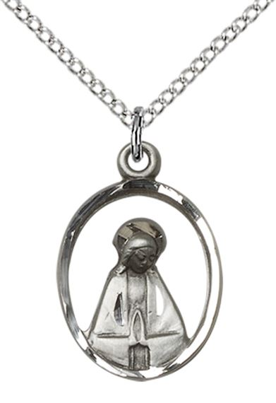 "STERLING SILVER MADONNA PENDANT WITH CHAIN - 3/4"" x 1/2"""