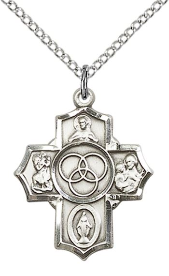 "STERLING SILVER NEW FAMILY 5-WAY PENDANT WITH CHAIN - 7/8"" x 3/4"""