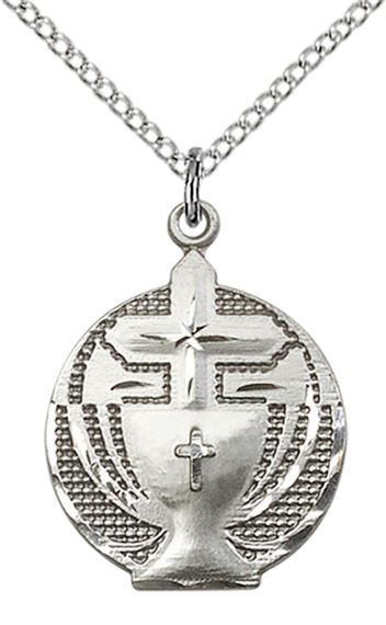 "STERLING SILVER COMMUNION PENDANT WITH CHAIN - 7/8"" x 5/8"""